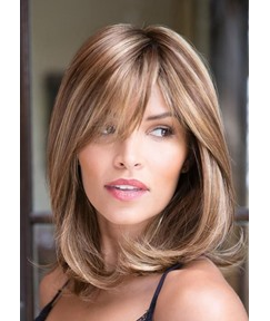 Shoulder Length Lob Hairstyle Natural Straight Synthetic Hair Lace Front Wigs 18 Inches