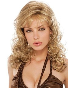Long Kinky Curly With Bangs Synthetic Hair Wig 20 Inches