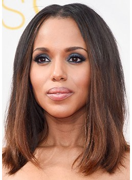 Straight Lob Shoulder Length Synthetic Hair Capless Wigs 16 Inches
