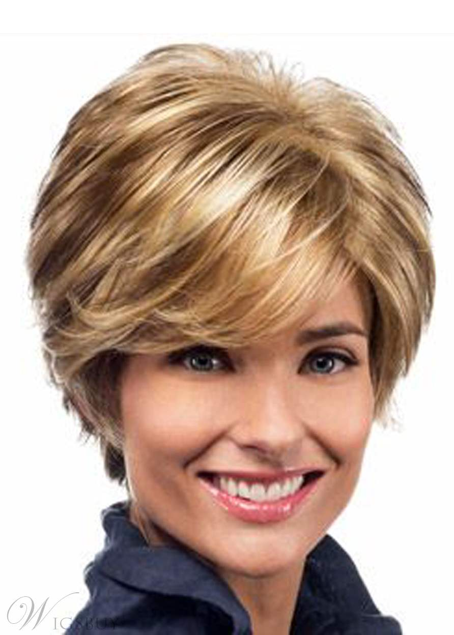 Short Blonde Color Wavy Layered Lace Front Synthetic Hair Wig 8 Inches