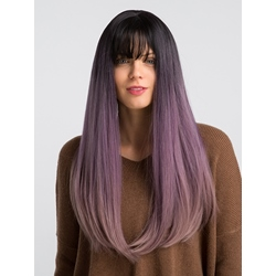 130% Density Long Straight Hair Wigs Black & Purple Color Synthetic Capless Wig 24inch