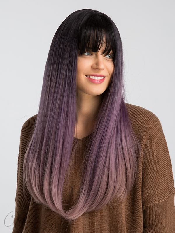 130% Density Long Straight Hair Wigs Black&Purple Color Synthetic Capless Wig 24inch