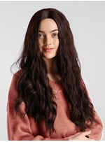 130% Density Women's Dark Brown Lovely Mid-Part Synthetic Capless Curly Hair Wigs