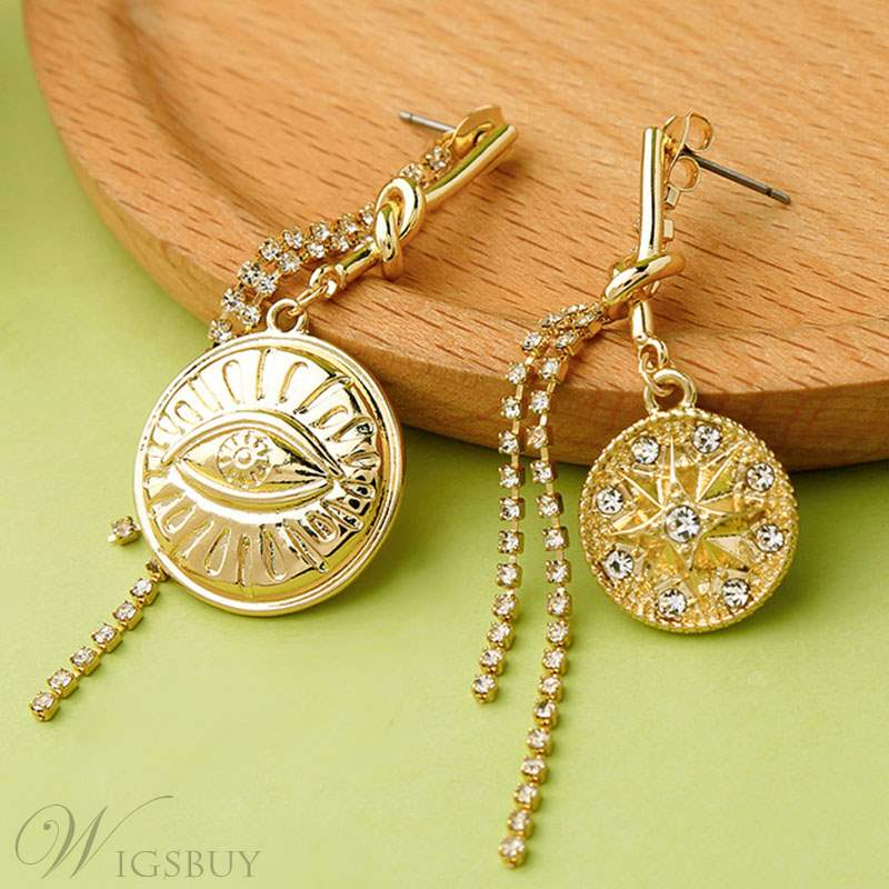 Diamante Alloy Round Plate Earrings