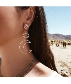 Moon&Star Hollow Out Earrings