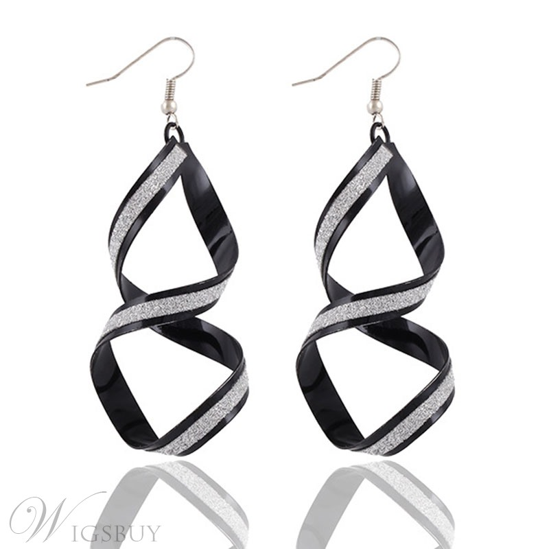 Alloy Curve Earrings For Women