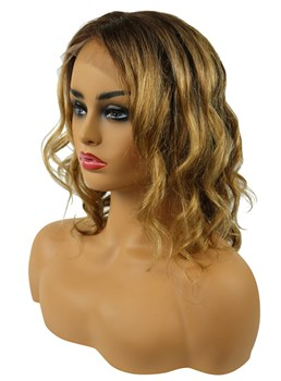 Clearance Bob Hairstyle Wavy Human Hair Lace Front Wigs 12 Inches