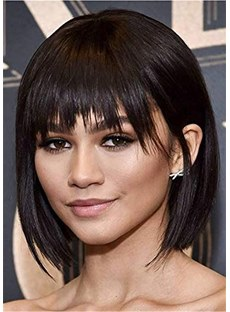 Short Bob Cut Straight Human Hair With Bangs Lace Front Wig 14 Inches