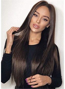 Long Natural Straight Middle Part Synthetic Hair Lace Front Wig 24 Inches