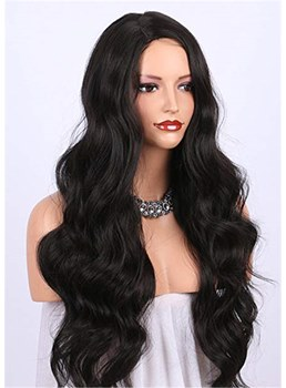 Long Wavy Synthetic Hair Middle Part Capless Wig 26 Inches