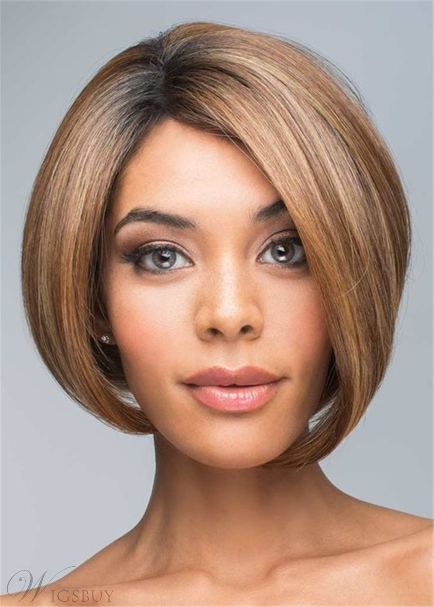 Natural Straight Synthetic Hair Lace front Mono Part Wig 12 Inches