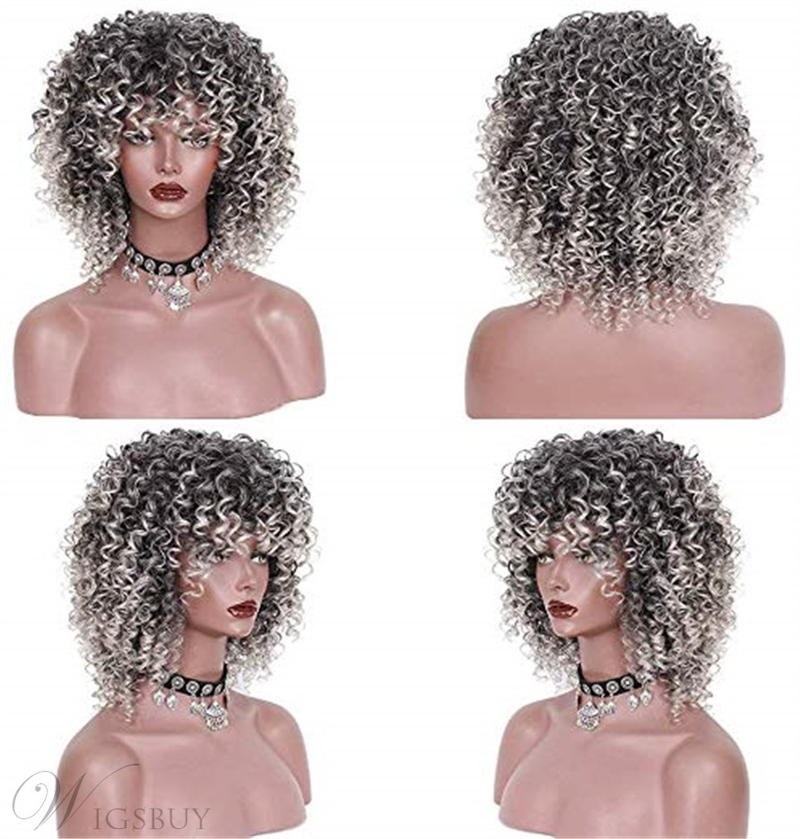 Synthetic Mixed 0mbre Wig With Bangs For Black Women 16 Inches