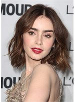 Lily Collins Hair Cut Middle Part Wavy Lace Front Wig