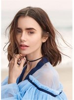 Lily Collins Hairstyle Long Bob Wavy Synthetic Hair Lace Front Wig 16 Inches