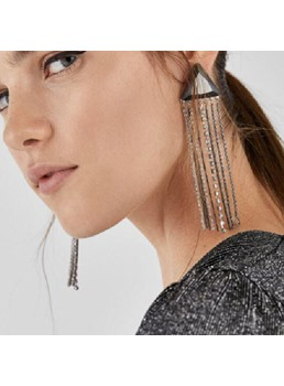 Triangle Tassels Long Drop Earrings