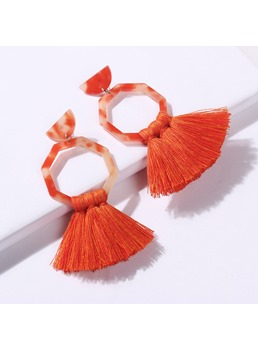 Colour Tassels Hoop Earrings