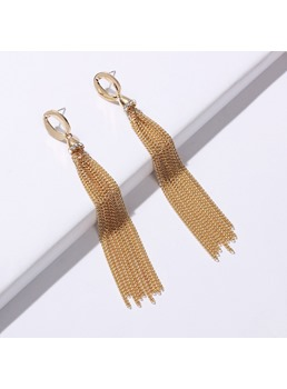 Tassels Golden Long Earrings