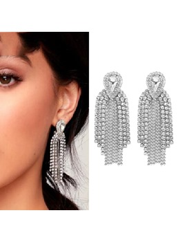 Diamante Long Drop Earrings