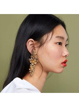 Flower Long Drop Earrings