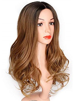 Ombre Wavy Wig Two Tone Curly Synthetic Hair Lace Front Wig 18 Inches