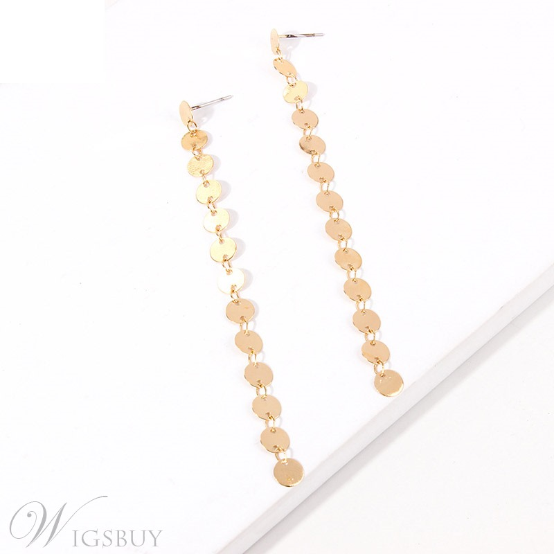 Sequins Long Drop Earrings