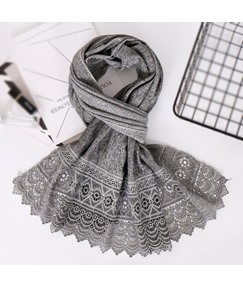 Lace Hollow Out Pure Color Scarf