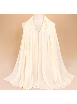 Embroider Chiffon Pure Color Scarf