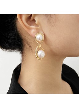 Cross Pearl Golden Earrings