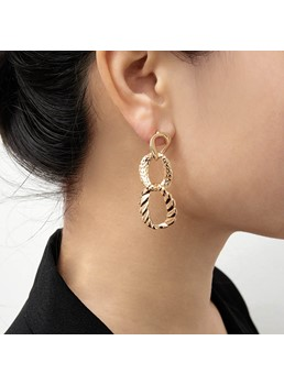 Cross Hoop Golden Earrings