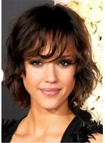 Medium Length Layered Wavy Lace Front Synthetic Hair Wigs 14 Inches