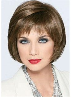 Joan Collins Smooth Cut Bob Wig Human Hair Straight Capless Wig 12 Inches
