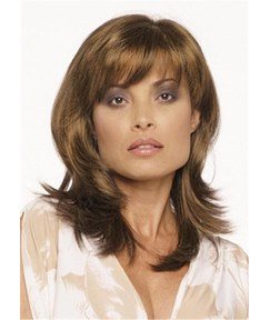 Long Loose Wave Synthetic Hair With Bangs Lace Front Women Wigs 16Inches