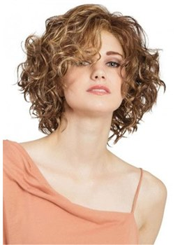 Medium Bob Afro Curly Synthetic Hair Lace Front Wig Wigs 14 Inches
