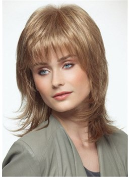 Long Layered Wavy Synthetic Hair Capless Wigs WIth Bangs 16 Inches