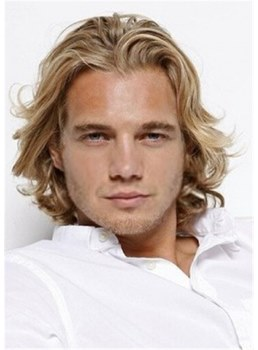 Medium Wavy Human Hair Men's Wig