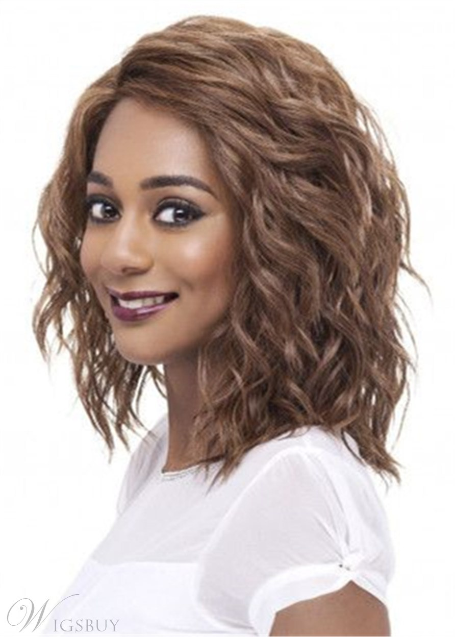 One Side Part Medium Bob Synthetic Kinky Curly Hair Wig For Round Face