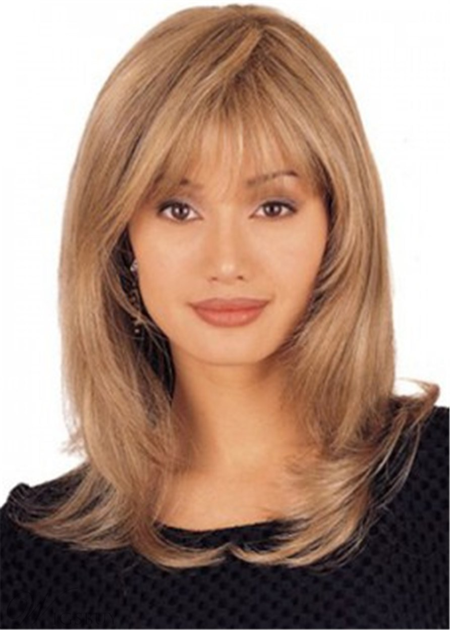 Long Layered Shaggy Synthetic Straight Capless Wigs With Bangs 16Inches
