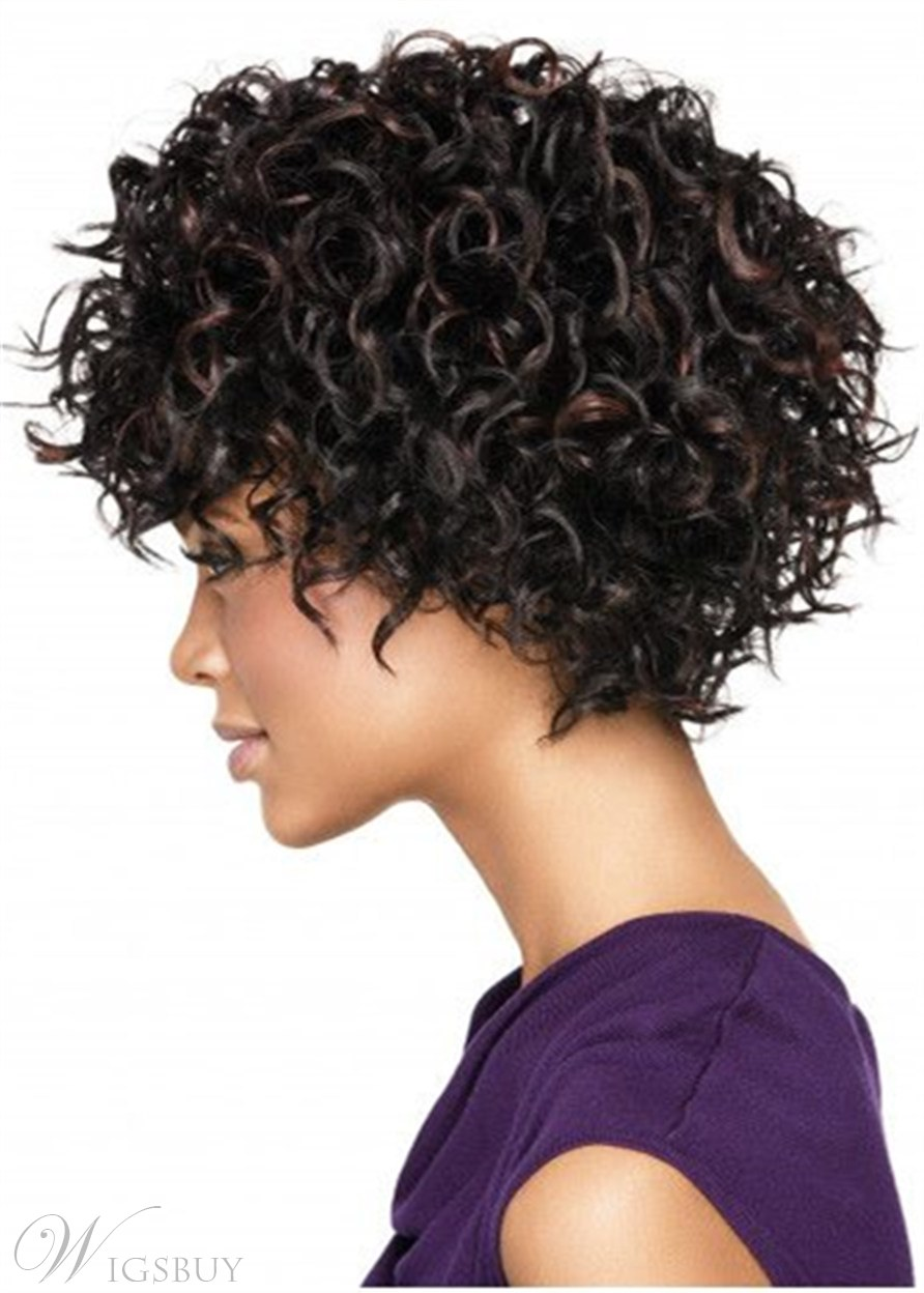 Afro Wig Synthetic Hair Curly Capless Wig 12 Inches