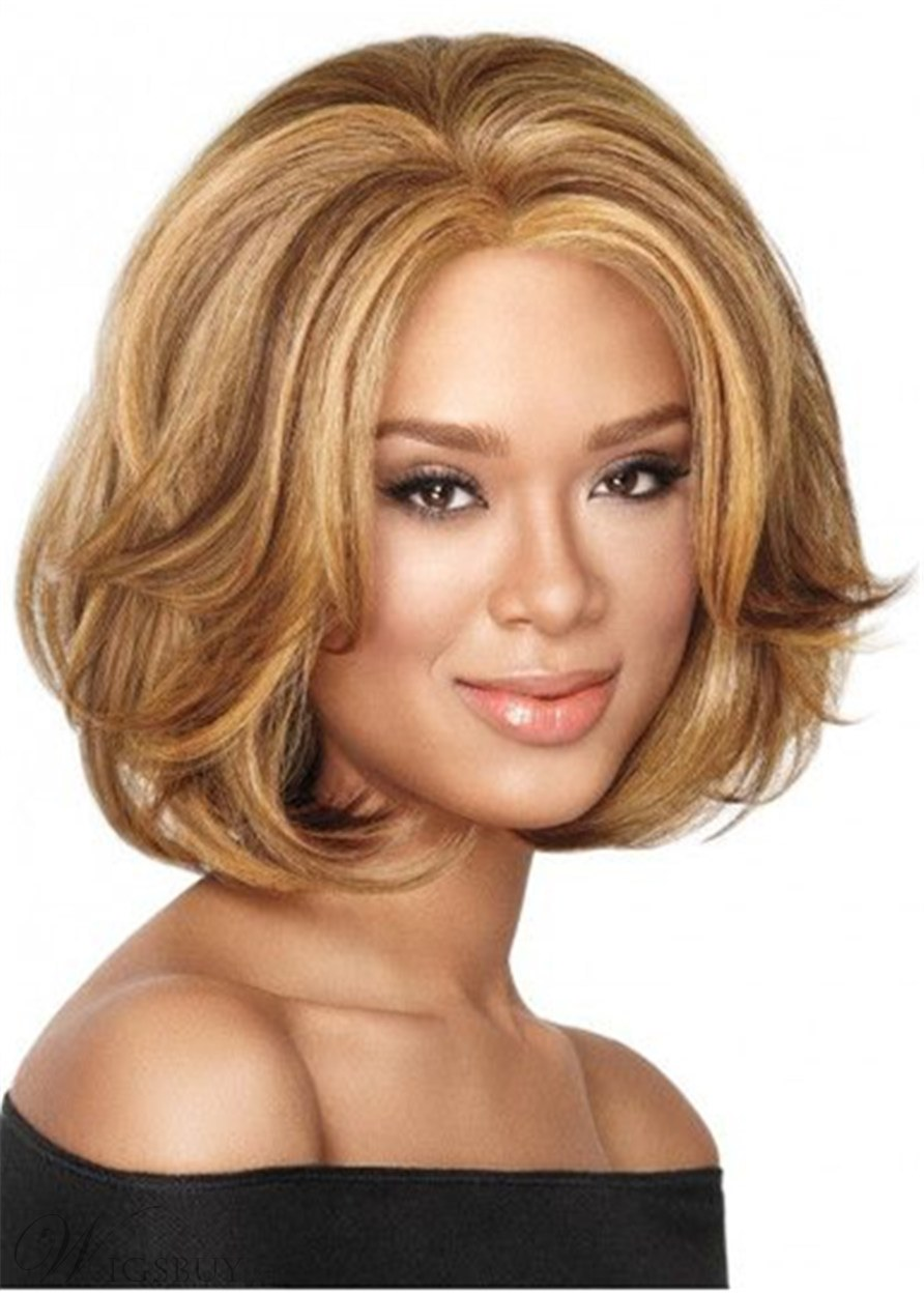 Short Bob Natural Straight Synthetic Hair Capless Wig 12 Inches