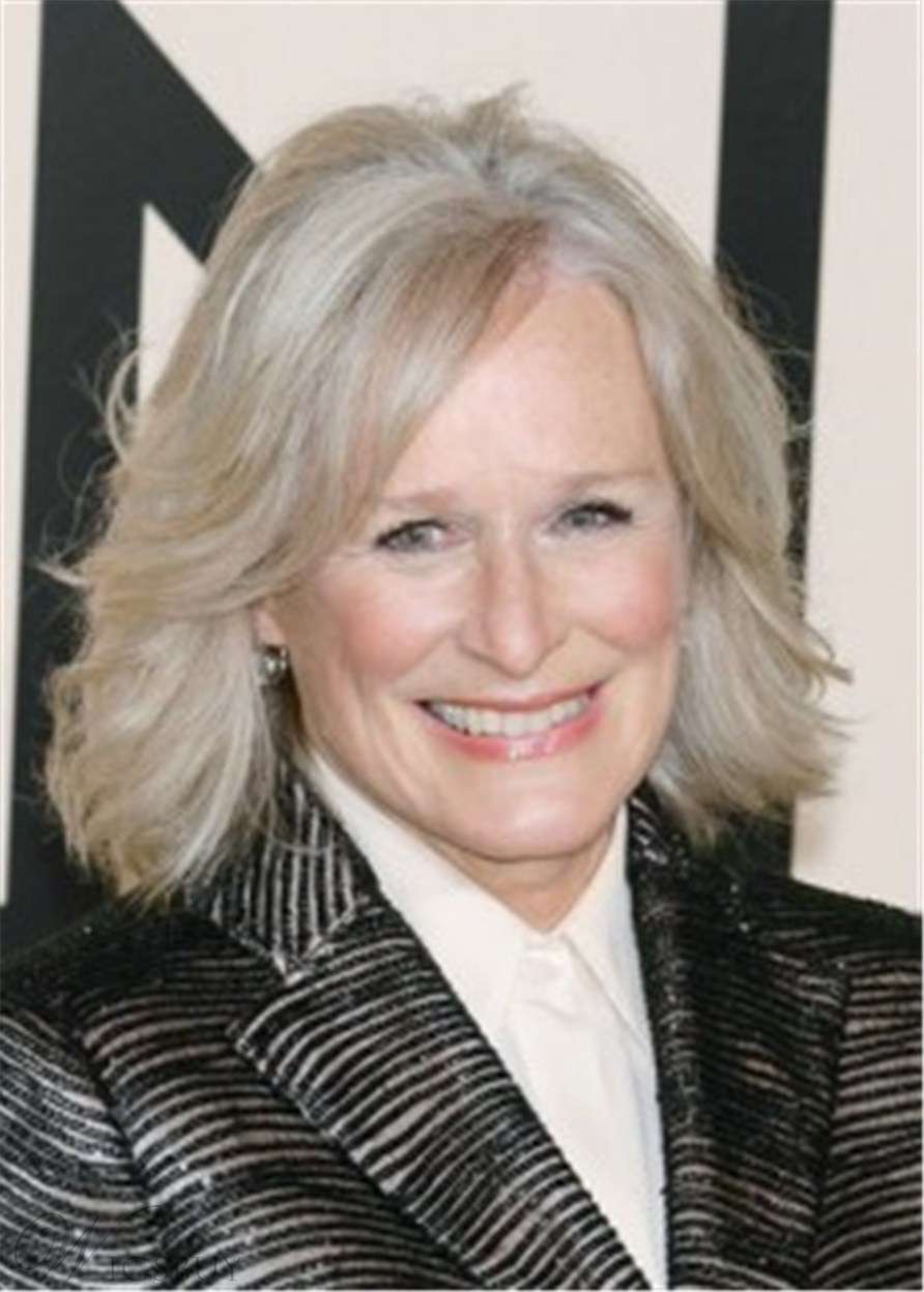 Glenn Close Bob Wig Mid-Length Synthetic Hair Capless Wig 14 Inches