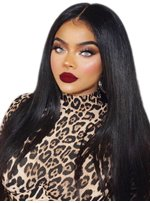 Long Middle Part Synthetic Straight Hair Lace Front Wig 24 Inches
