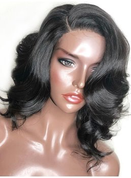 Medium Length One Side Part Synthetic Hair Curly Lace Front Wig 14 Inches