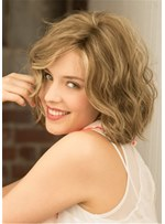 Short Layered Bob Wig Human Hair Wavy Lace Front Wig 14 Inches