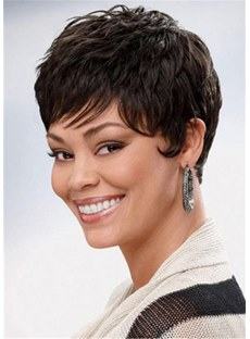 Boycuts Hair Cropped Synthetic Wavy Wig 8 Inches