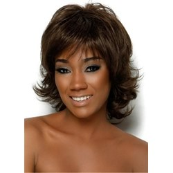African American Layered Shoulder Length Synthetic Hair Capless Wig 14Inches