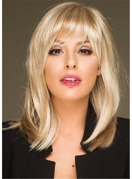 Medium Bob Wig With Slightly Bang Synthetic Hair Wig 16 Inches