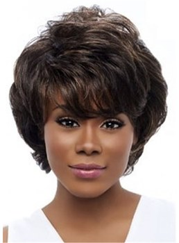 Short Wavy Layered Wig With Bangs For Black Women Capless 10 Inches