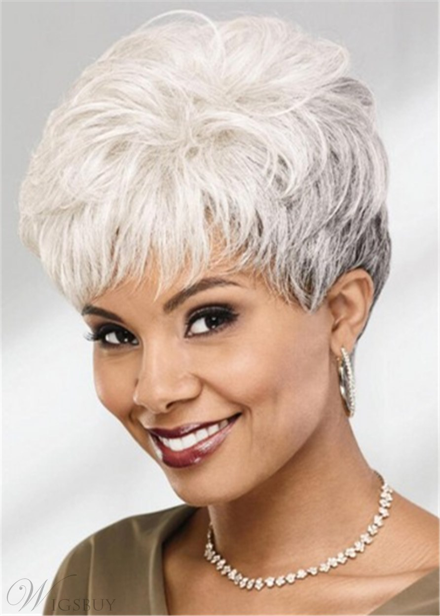 Pixie Short Wig With Layers Straight Bangs Synthetic Hair Wig 8 Inches