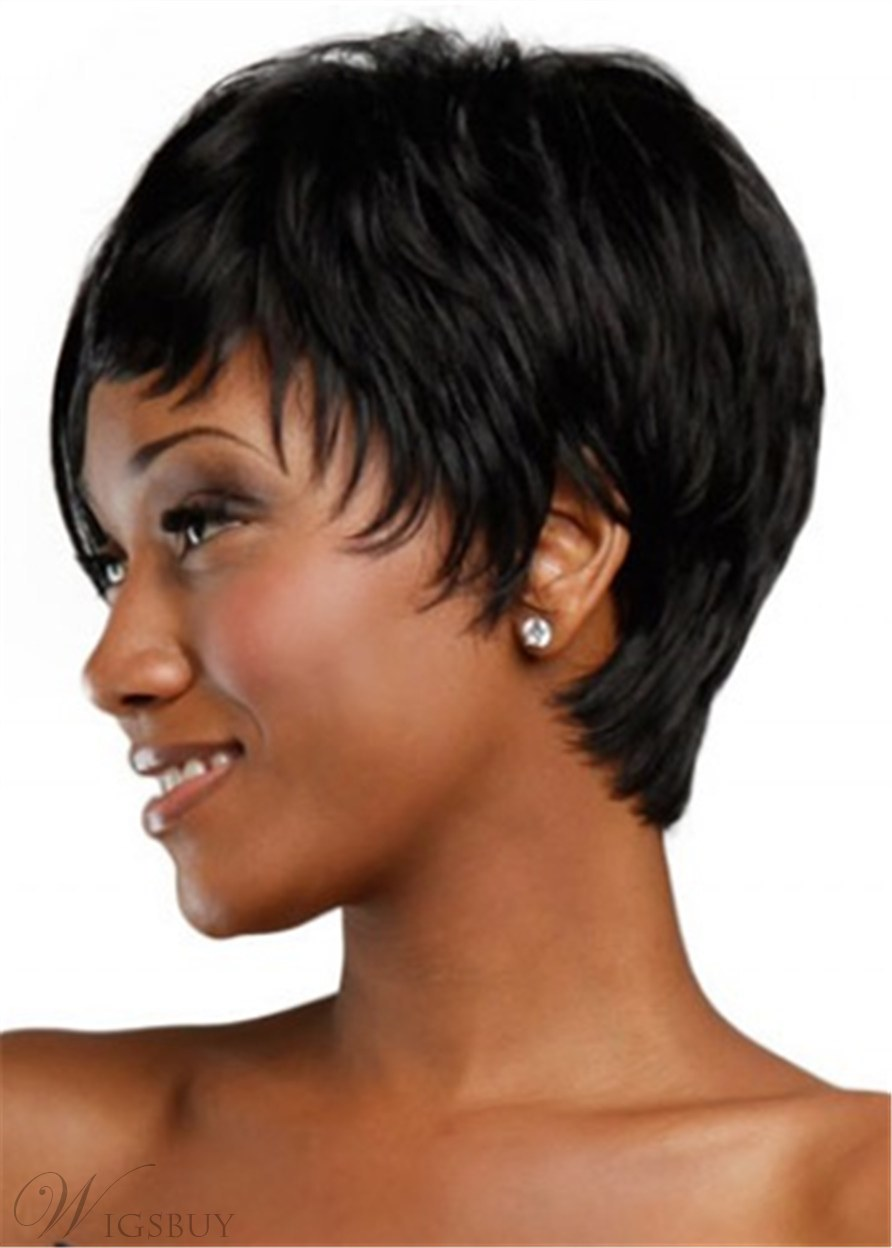 Cropped Straight Synthetic Hair Wig 8 Inches For Black Women