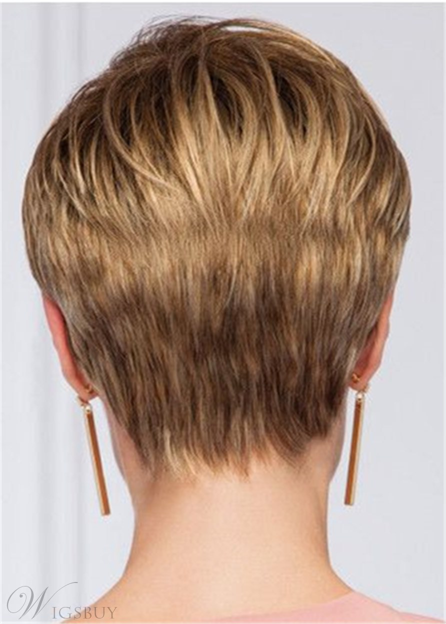 Short Layered Boy Cut Human Hair Straight Lace Front Wig 10 Inches